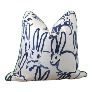 "20x20"" Contemporary Blue Hunt Slonem Hutch Print Throw Pillow For Sale"