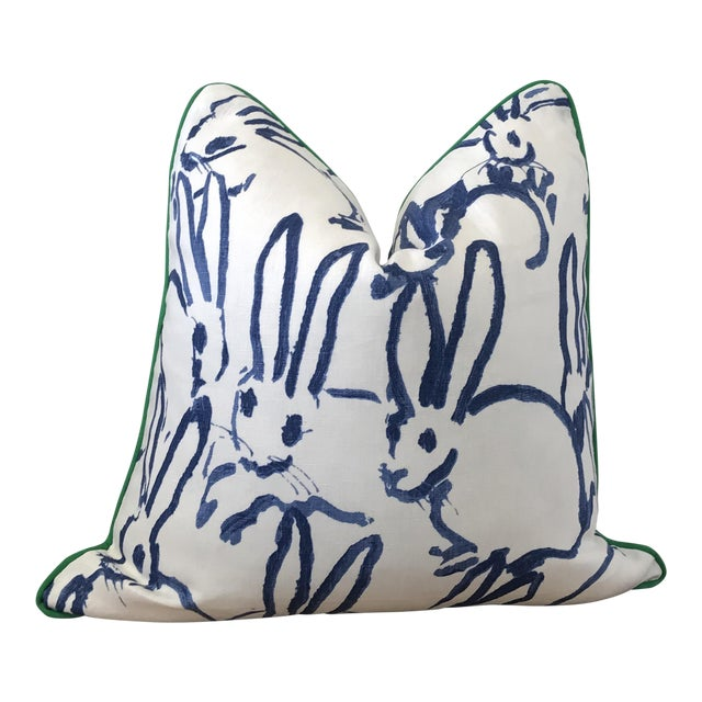 """20x20"""" Contemporary Blue Hunt Slonem Hutch Print Throw Pillow - Image 1 of 3"""
