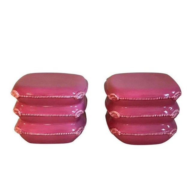 Pair of Vintage Italian Ceramic Pillow Stack Stools or Tables by Marioni For Sale - Image 9 of 9