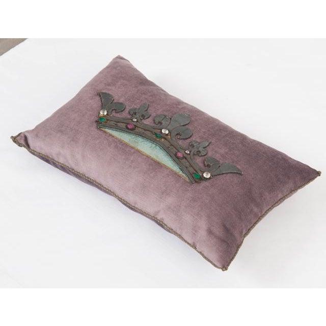 19th century European raised dark bronze metallic embroidery of a crown embellished with original rhinestones on lavender...