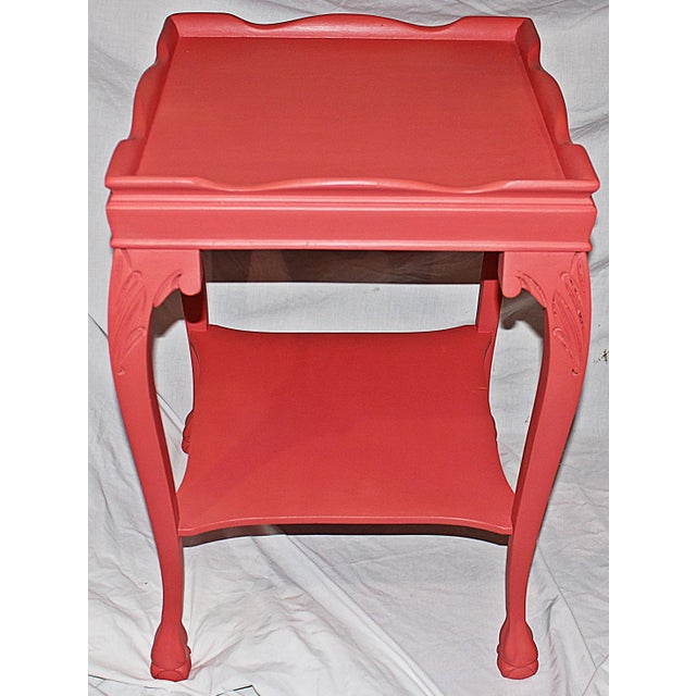 Coral-Painted Mahogany Side Table - Image 4 of 5