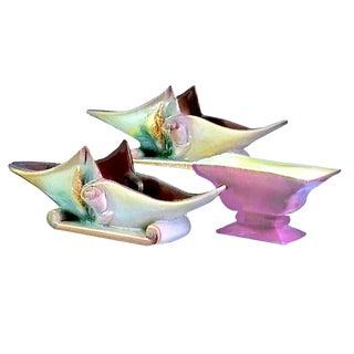 1950s Art Nouveau Hull Pottery Parchment & Pine Console & Royal Windsor Planters/Bowls - 3 Piece For Sale
