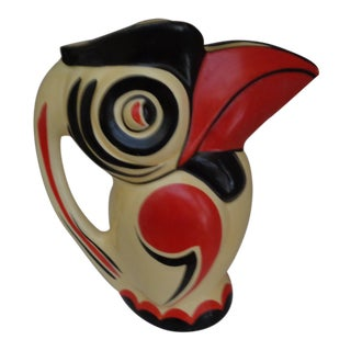 1930s Art Deco Red Black and Light Yellow Czechoslovakian Toucan Pitcher For Sale