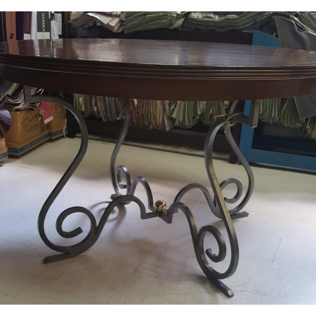 """Table by Creative Metal and Wood. Showroom Sample 48"""" Round with 1 16"""" Leaf. Opens to 64"""" Steel Base Maple Top Very Pretty..."""