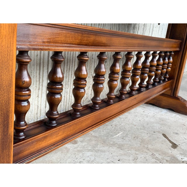 Baroque Console Table in Walnut With Three Carved Drawers and Stretcher For Sale - Image 9 of 11