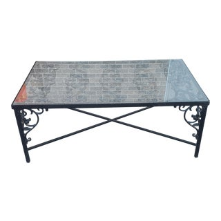 Heavy Wrought Iron Glass Top Coffee Table ~ Fabricated From Old French Gate, 50 X 29.5 ~1990s For Sale