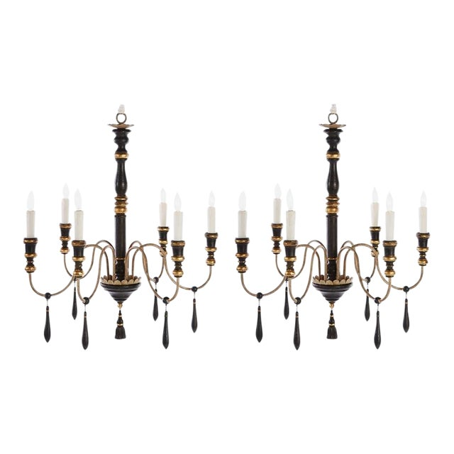 Two Regency Style Six-arm Chandeliers With Ebonized Finish For Sale