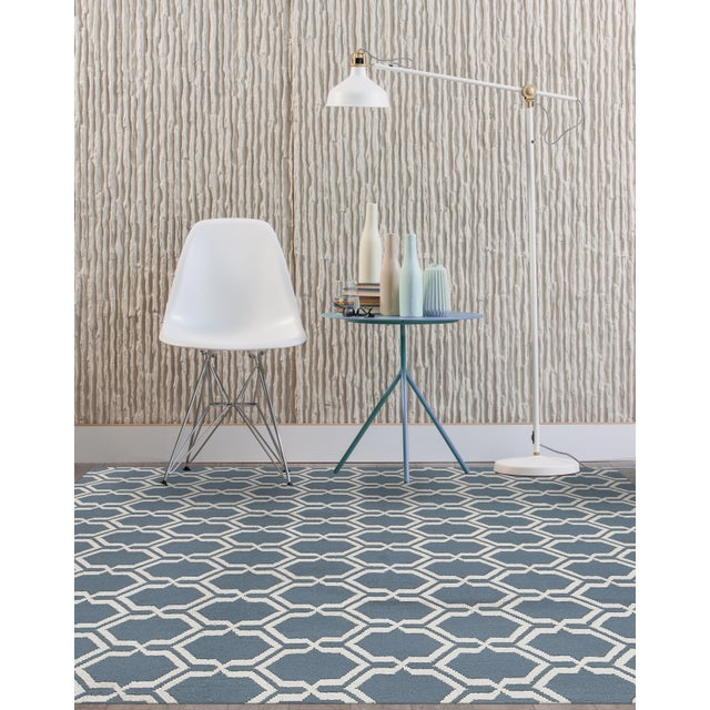 Contemporary Zara Trellis Blue Flat-Weave Rug 8'x10' For Sale - Image 3 of 4