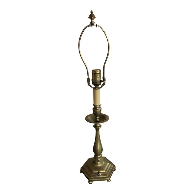 1920s Vintage Dutch Style Solid Brass Table Lamp For Sale