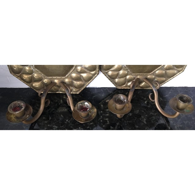 Brass Antique Continental Brass Repousse Wall Candle Sconces - a Pair For Sale - Image 7 of 13