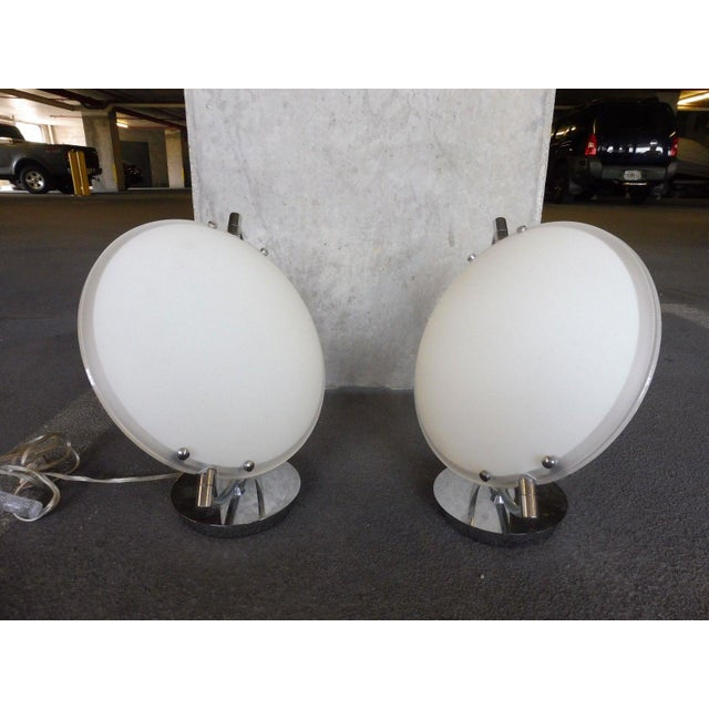 Space Age Post Modern Flying Saucer Clam Shell Table Lamps - a Pair For Sale - Image 4 of 6