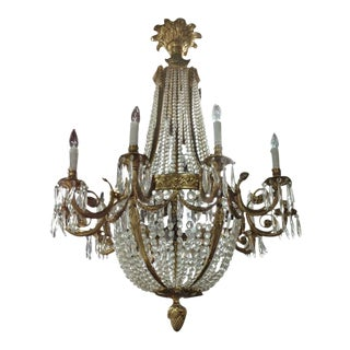 Large French Louis XVI Style Bronze and Crystal Chandelier