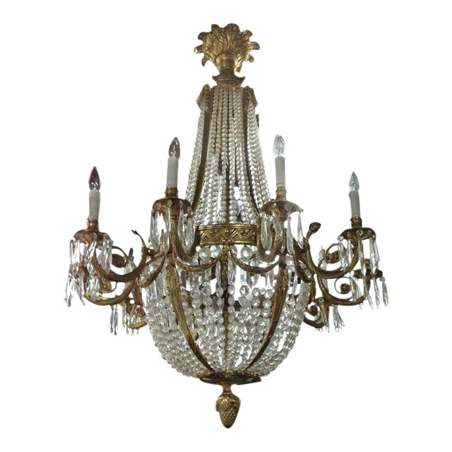 Large French Louis XVI Style Bronze and Crystal Chandelier For Sale