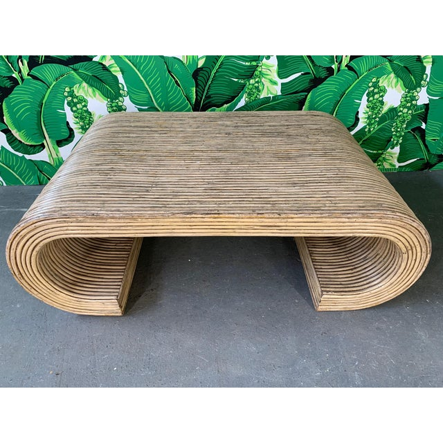 Gabriella Crespi Split Reed Rattan Wrapped Scroll Coffee Table in the Style of Crespi For Sale - Image 4 of 9