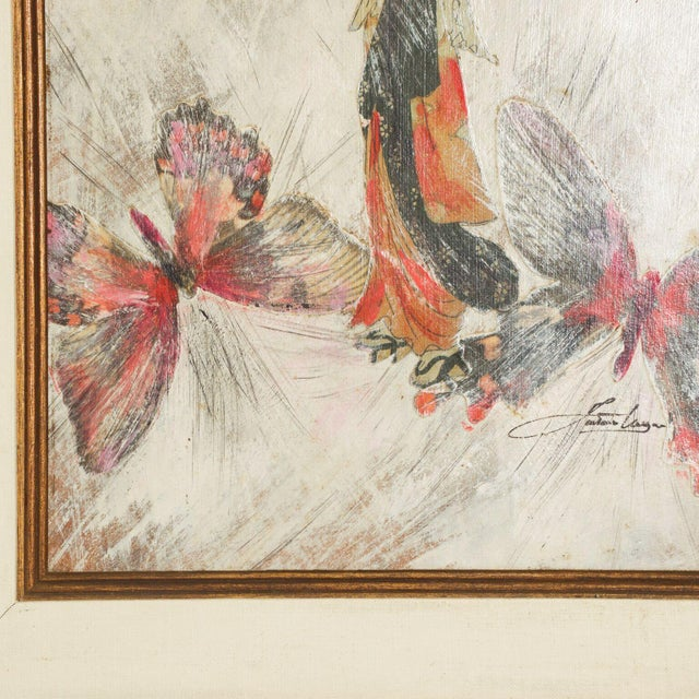Mixed Media Art, Japanese Woman Pink Butterflies, Signed Painting For Sale - Image 10 of 11