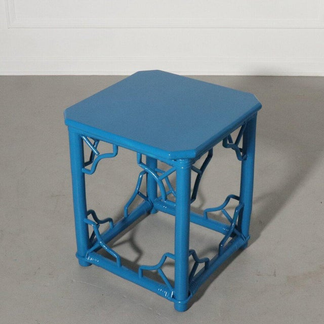 Rattan Fretwork Side Table Painted Blue For Sale - Image 4 of 9