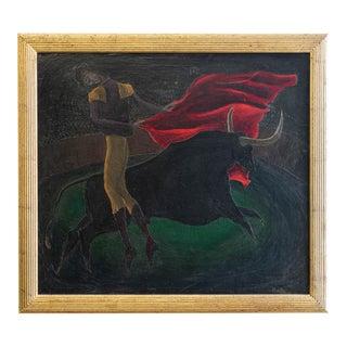 1946 Abraham Rattner Oil on Canvas Bull Fighter Painting For Sale
