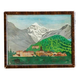 Folk Art Landscape Oil Painting For Sale