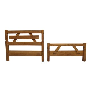 Vintage Brandt Ranch Rustic Oak Twin Size Bed Headboard & Footboard For Sale