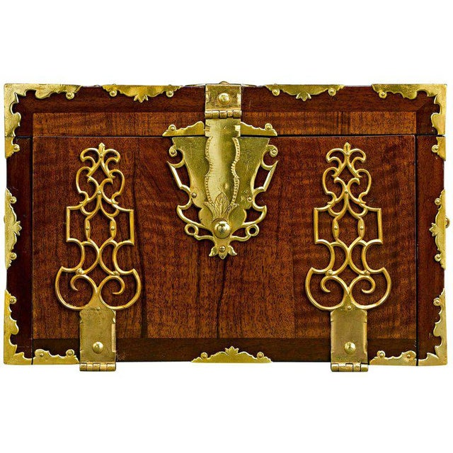 Mid 18th Century English Brass Bound Lock Box For Sale - Image 5 of 5