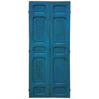 1980s Moroccan Carved Cedar Double-Panel Wood Door For Sale