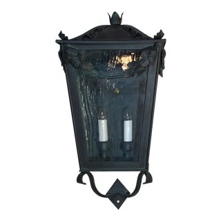 Single Hand Forged Iron Wall Lantern For Sale
