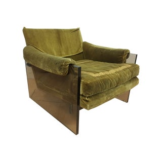 Milo Baughman Lucite Lounge Chair For Sale