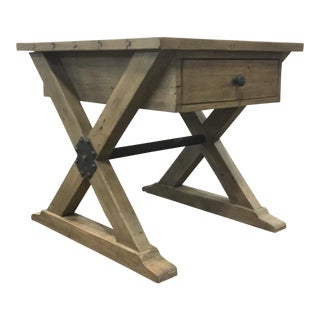 Rustic Reclaimed Wood Trestle End Table For Sale