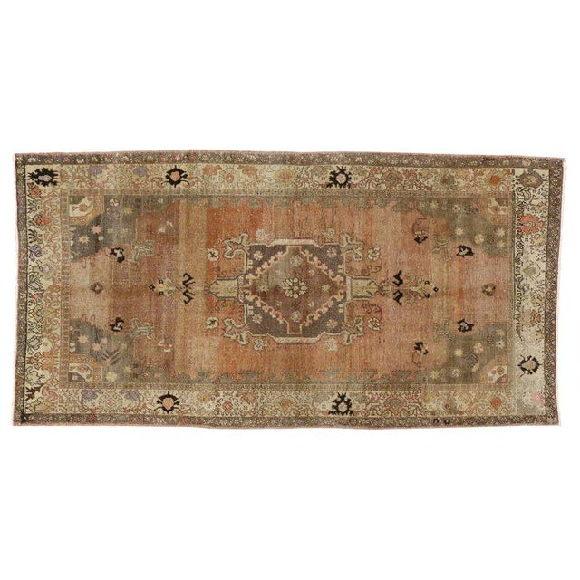 Orange Vintage Turkish Sivas Rug with Modern Industrial Style For Sale - Image 8 of 9