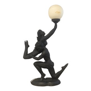 Art Deco Nude Figurative Man Lifting Woman Lamp For Sale
