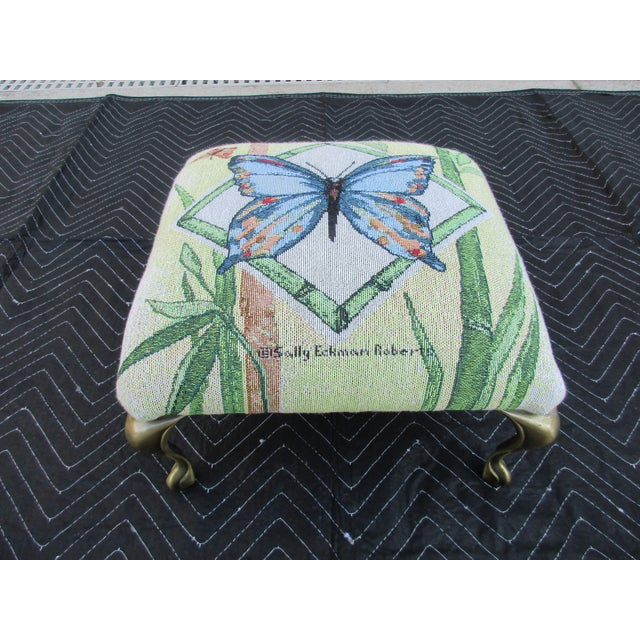 Butterfly Print Footstool With Brass Cabriole Legs For Sale - Image 11 of 11