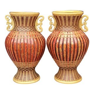 1970s Chinese Bamboo and Rattan Flower Basket Urn Vases - a Pair For Sale