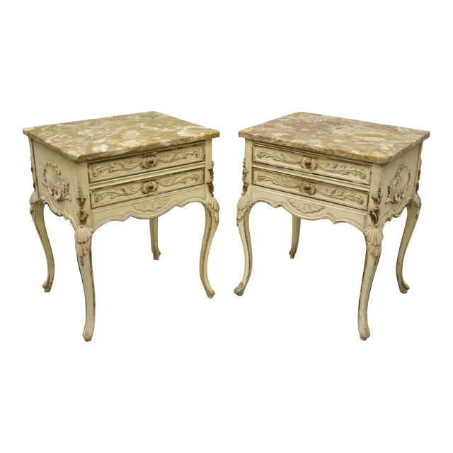 1950s French Louis XV Marble Top Nightstands - a Pair For Sale