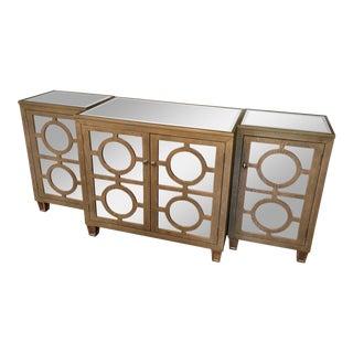 Contemporary Worlds Away Ava Mirrored Sideboard Buffet - 3 Piece Set