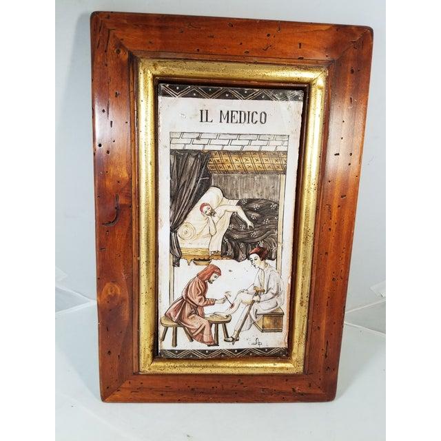 1970s Handpainted Italian Il Medico Framed Tile For Sale - Image 5 of 5