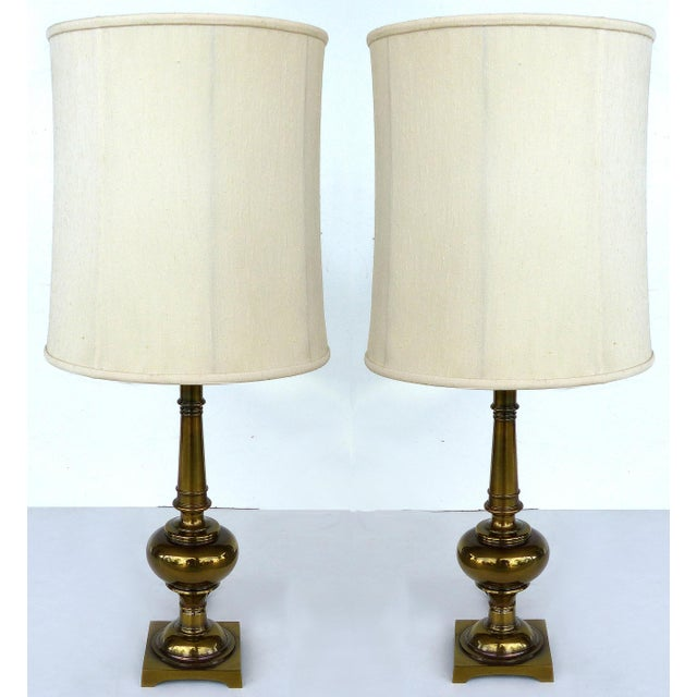 Stiffel Brass Table Lamps with Original Stiffel Shades - a Pair For Sale - Image 10 of 10