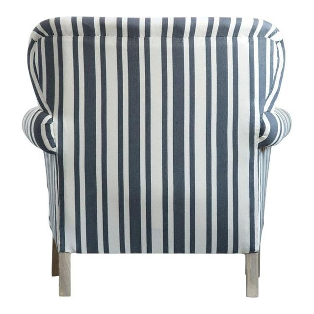 Striped Fabric Classic Armchair For Sale - Image 4 of 6