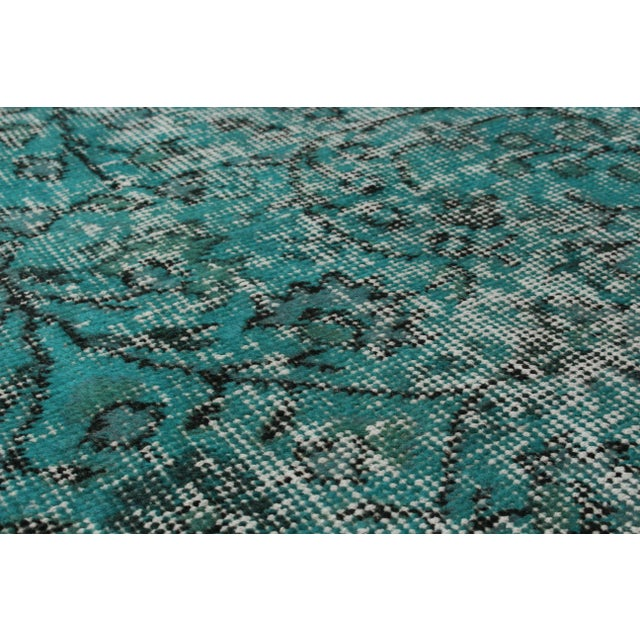 "Turquoise Vintage Turkish Overdyed Rug - 5' X 8'7"" - Image 2 of 2"