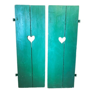 Large Antique Green Painted Window Shutters-A Pair For Sale