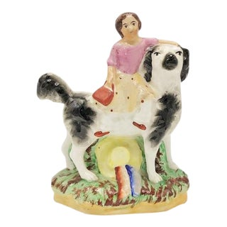 Staffordshire Girl & Dog Figurine For Sale