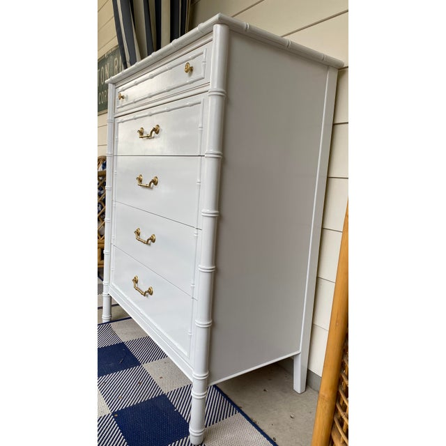 Thomasville 1960s Vintage Thomasville Faux Bamboo Highboy For Sale - Image 4 of 12