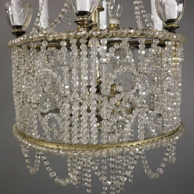 C 1890 French Bagues Style Wedding Cake Beaded Crystal Chandelier 15 Light