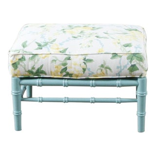 Transitional Sky Blue and White Floral Cottonwood Ottoman