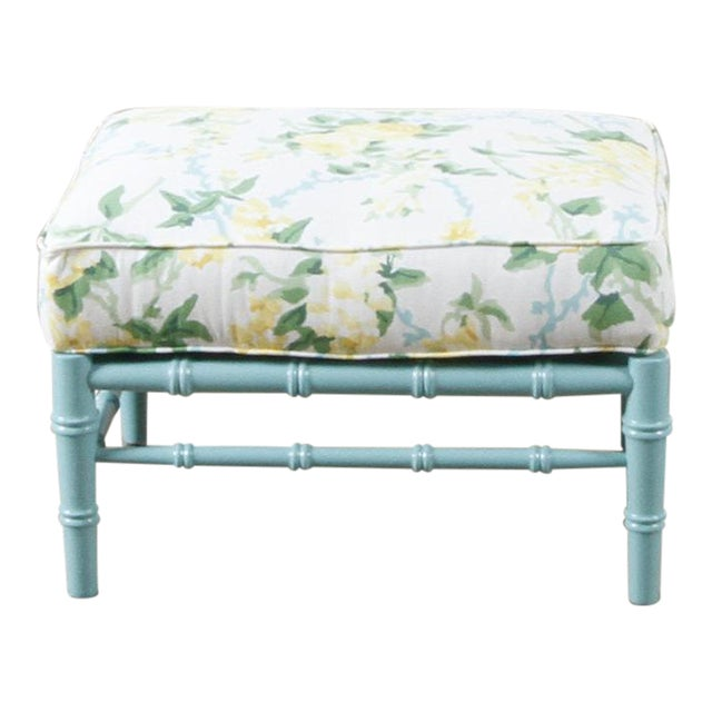 Transitional Sky Blue and White Floral Cottonwood Ottoman For Sale