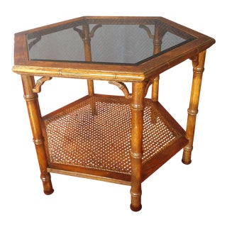 20th Century Asian Hexagonal Glass Wicker Coffee Table For Sale