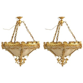 Louis XVI Style Gilt Bronze Louis XVI Style Beaded Chandeliers - a Pair For Sale