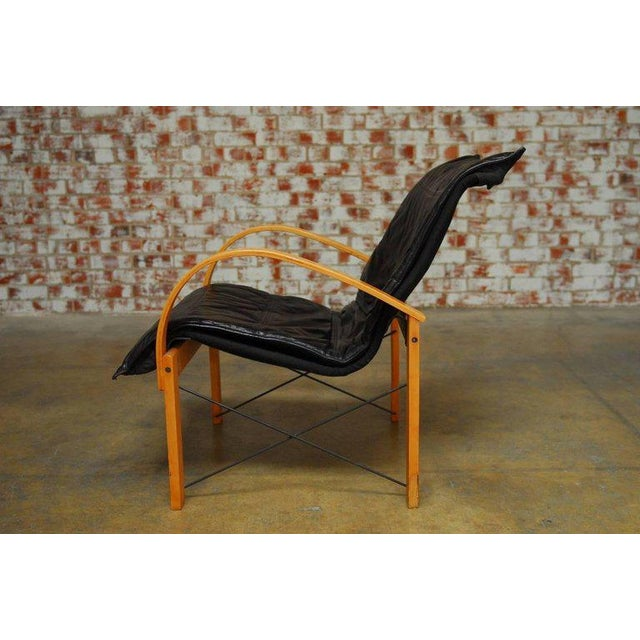Mid-Century Danish Bentwood & Leather Armchairs - A Pair For Sale - Image 5 of 10