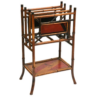 Superb 19th Century Chinoiserie Tall English Bamboo Magazine Stand For Sale