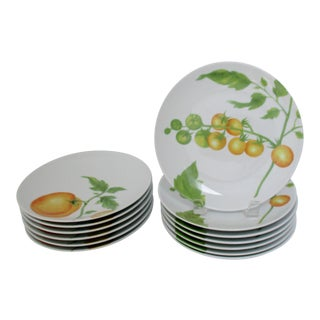 French Porcelain Salad Plates, 13 Pieces For Sale