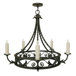 Elegant Spanish Mediterranean Wrought Iron Chandelier by Randy Esada Designs For Sale